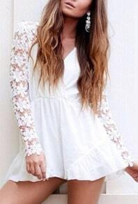White V Neck Lace Long Sleeve Jumpsuit