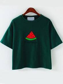 Green Short Sleeve Watermelon Embroidered T-Shirt