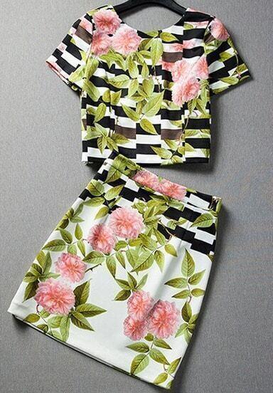 Top-falda cuello V rayas hojas-blanco y negro