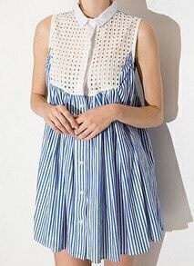 Blue Sleeveless Hollow Vertical Striped Shirt Dress