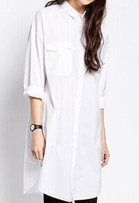 White Lapel Pockets High Low Shirt Dress