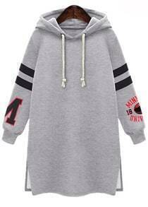 Grey Hooded Long Sleeve Split Sweatshirt
