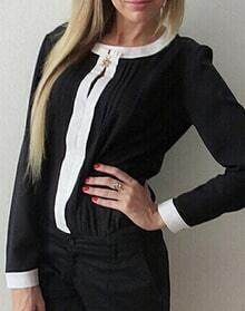 Black Contrast Collar Pleated Chiffon Blouse