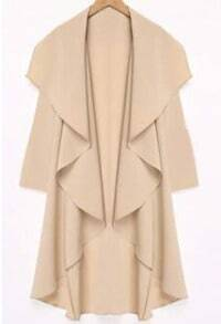 Apricot Lapel Long Sleeve Asymmetrical Trench Coat -SheIn(Sheinside)