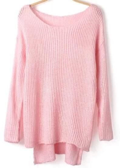Pink Dip Hem Loose Knit Sweater