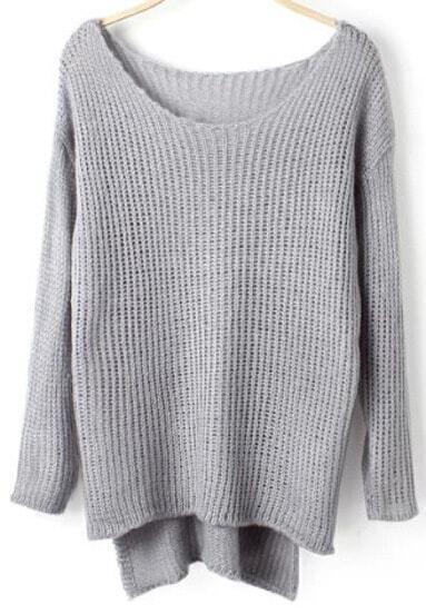 Grey Dip Hem Loose Knit Sweater