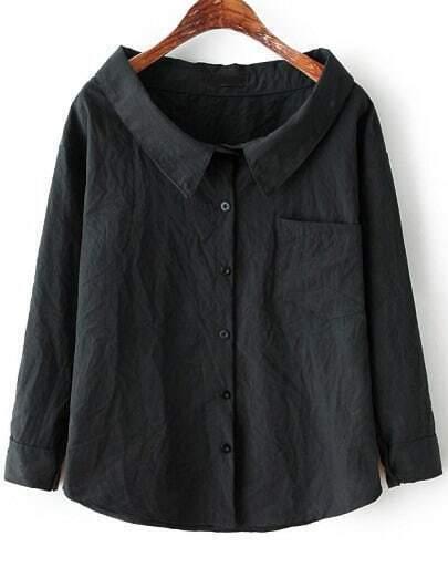 Black Long Sleeve Boat Neck Pocket Blouse