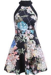 Black Off the Shoulder Floral Ruffle Dress