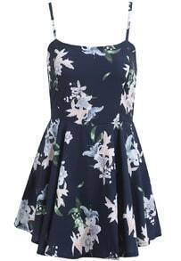 Black Spaghetti Strap Lily Print Ruffle Dress