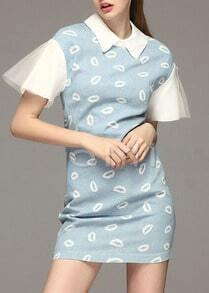 Blue Ruffle Short Sleeve Lips Print Dress