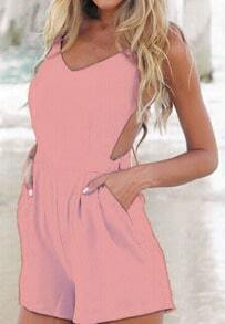 Pink Spaghetti Strap Open Back Jumpsuit