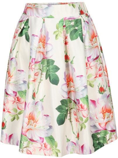 Beige Floral Pleated Skirt