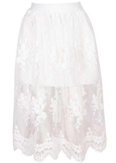White Embroidered Sheer Mesh Skirt