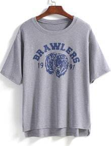 Grey Short Sleeve Letters Print Dip Hem T-Shirt