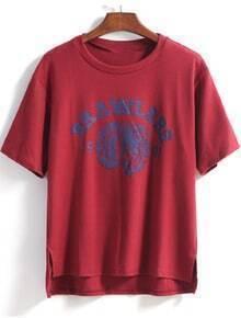 Wine Red Short Sleeve Letters Print Dip Hem T-Shirt