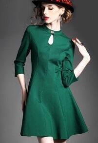 Green Lace Back Bow Embellished Dress