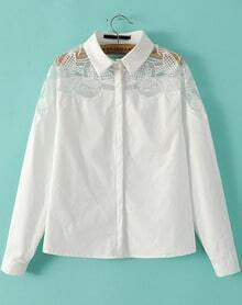 White Sheer Mesh Embroidered Loose Blouse