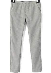 Black White Plaid Pockets Pant