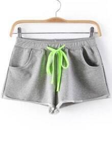 Light Grey Drawstring Waist Flange Shorts