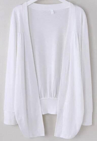 White Long Sleeve Loose Cardigan