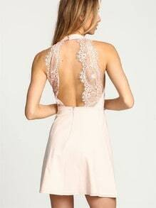 Apricot Halter With Lace Backless Dress