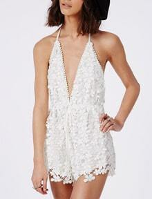 White Spaghetti Strap Backless Lace Jumpsuit