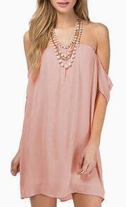 Pink Strapless Backless Loose Chiffon Dress