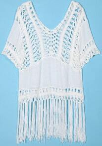 White Short Sleeve Hollow With Tassel Blouse