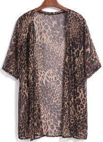 Brown Short Sleeve Leopard Print Chiffon Blouse