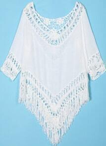 White Crochet Detail Hollow With Tassel Blouse