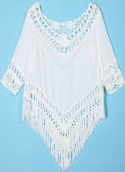 White Crochet Detail Hollow With Tassel Blouse