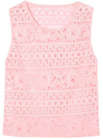 Pink Round Neck Embroidered Tank Top