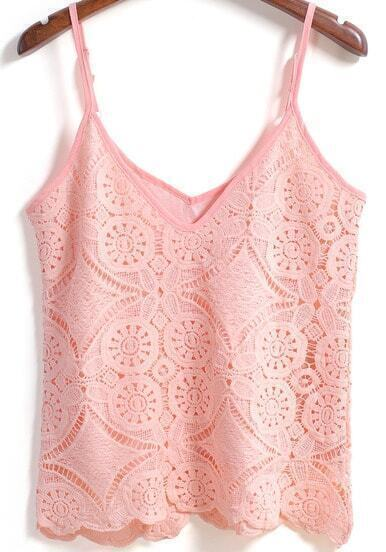 Pink Spaghetti Strap Crochet Detail Lace Cami Top