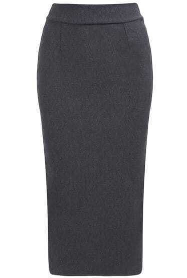 Dark Grey Leg Split Wraped Skirt