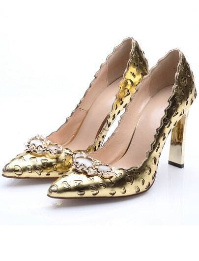 Gold Point Toe With Scalloped High Heeled Shoes