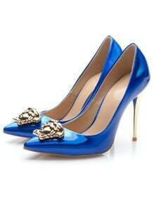 Blue Point Toe With Metallic High Heeled Shoes