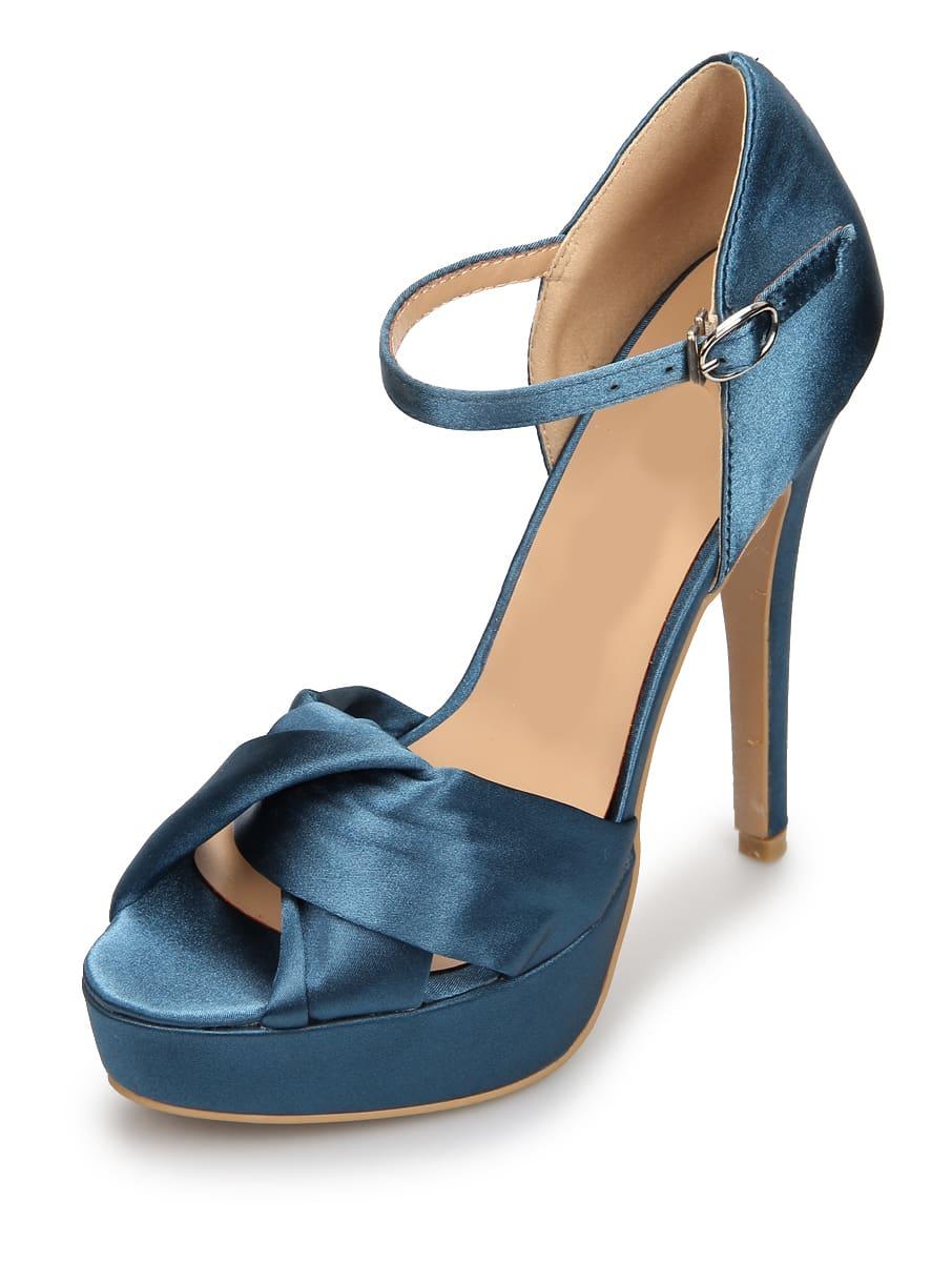 Blue Satin Platform High Heels Shoes