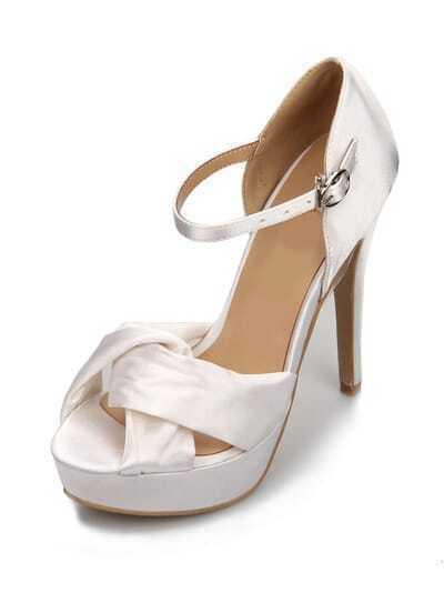 White Satin Platform High Heels Shoes