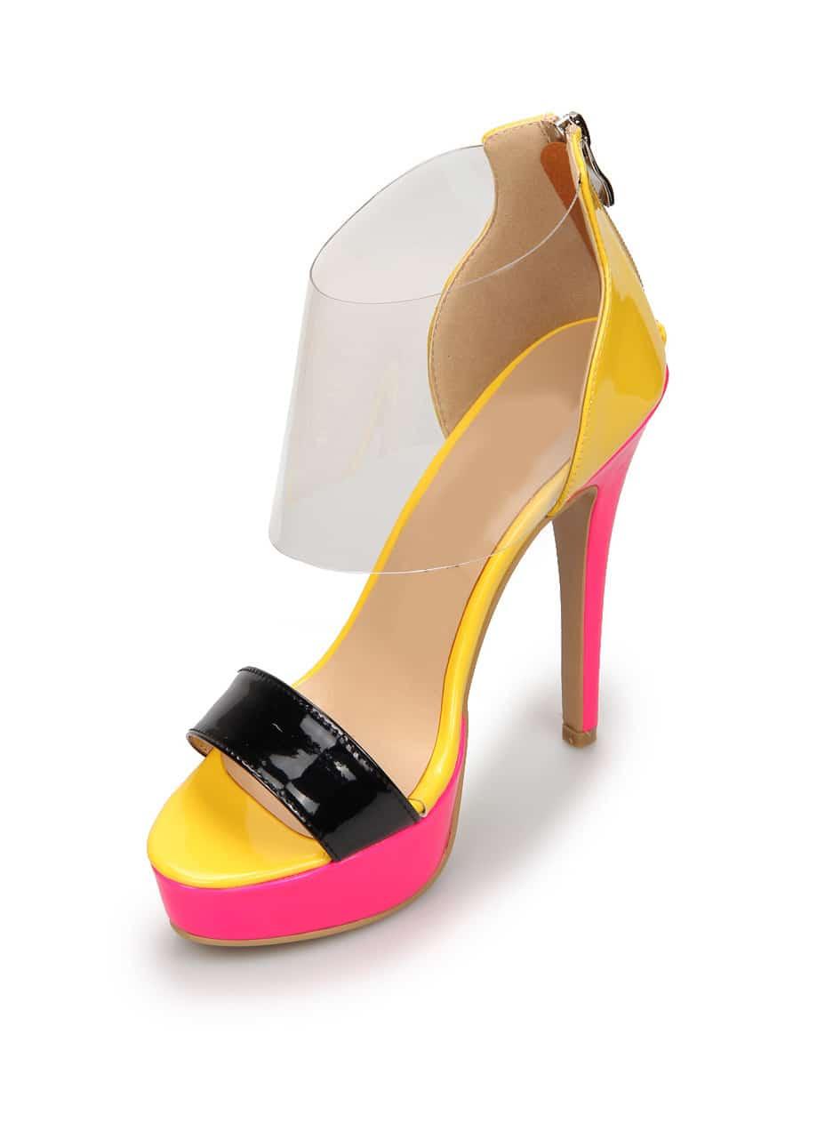 Color-block Platform With Zipper High Heels Shoes