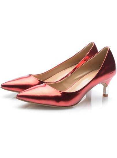 Red Patent Leather Point Toe Mid Heels Shoes