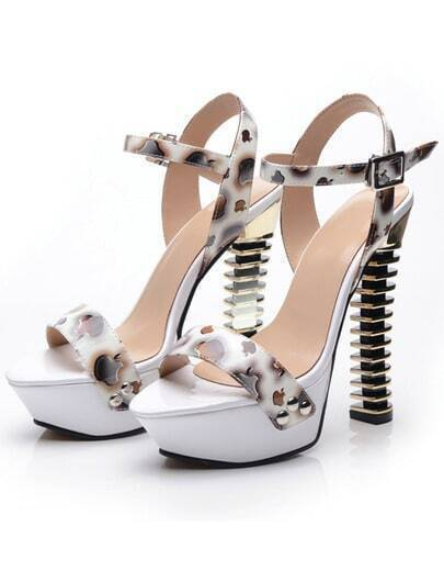 White Apple Print Ankle Strap High Heels Shoes