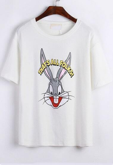 White Short Sleeve Bugs Bunny Print Loose T-Shirt