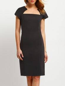 Black Sateen Cheesecloth Square Neck Short Sleeve Bodycon Wiggle Dress
