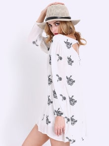 White Long Sleeve Floral Embroidery Dress