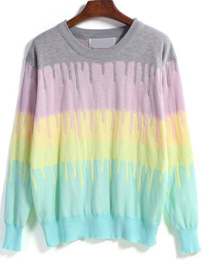 Multicolor Long Sleeve Rainbow Knit Sweater