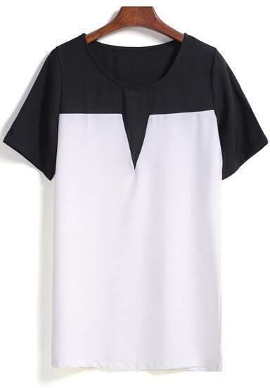 Colour-block Short Sleeve Chiffon Blouse