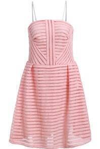 Pink Strapless Hollow Striped Flare Dress