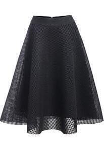 Black Hollow Mesh Flare Skirt