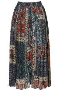 Green Elastic Waist Vintage Floral Skirt
