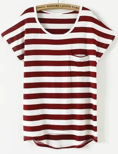 Wine Red Short Sleeve Striped Pocket T-Shirt